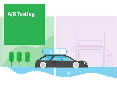 A/B Testing design car illustration