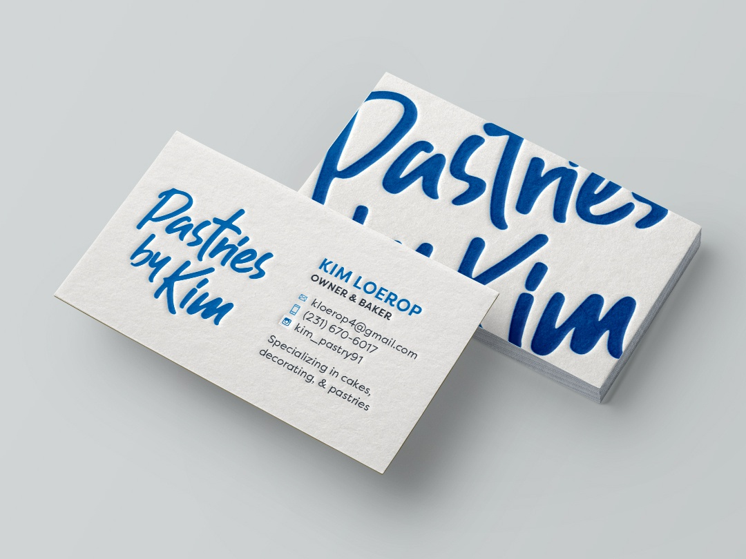 Pastries by Kim brand branding design identity blue letterpress business card businesscard logo