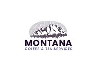 Montana mountain vintage illustration drawing design logo tea montana coffee