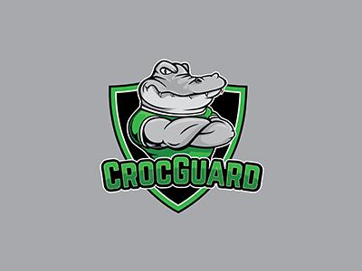 Croc Guard Logo security cartoon guard shield gator alligator crocodile