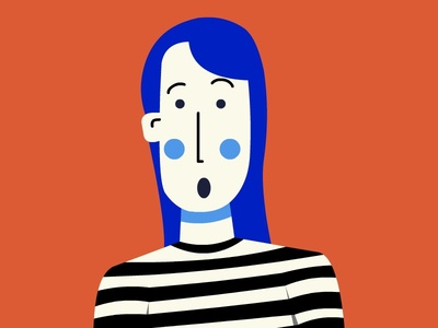 Mime girl surprised stripes human illustraion 2d surprised girl mime