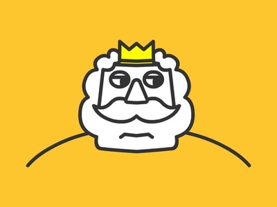 King face logo human 2d illustration avatar kinetic king line line art