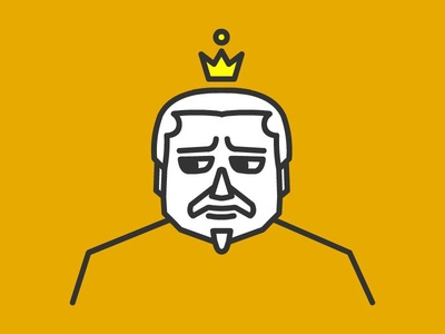 And one more King face ^_^ lineart crown king face character avatar art vector logo design illustration human 2d sad