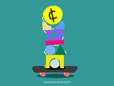 Money balance art poster shake trend skateboard social crisis 2020 cash money balance finance coin flat skate illustration