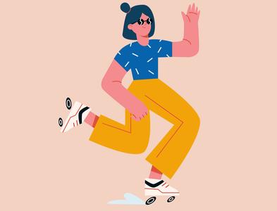 Girl on roller skates concept illustration. Trendy  character cartoon illustration cartoon character cartoon art vector illustration vector art characterdesign character design colors concept illustration