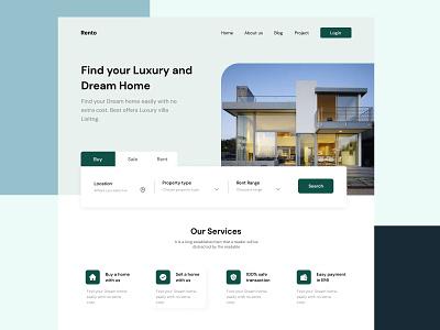 Real Estate -Property Landing page Design logo branding ui ux typography icon design