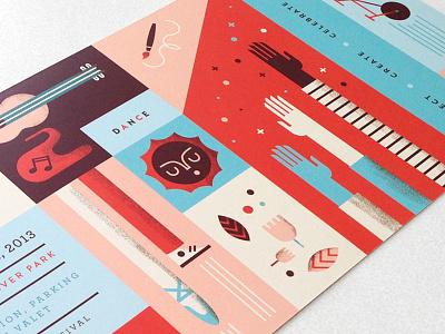 2013 Santa Monica Festival Flyer festival post card hands sun flower feet guitar illustration
