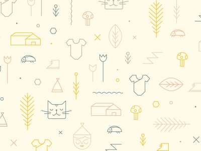 Pattern illustration flower plant house kids children branch bug cat gnome mushroom pattern