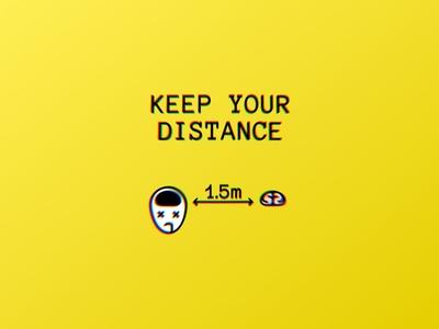 keep your distance... brain social yellow lol humor 2020 quarantine pandemic coronavirus distance logodesign minimal illustration typography mark logo design logo logopron design graphic design