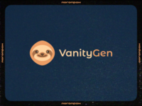 Vanity Gen Logo generator cute flat express sloth fresh retro vhs bitcoin crypto vector illustration typography mark logo design logo branding identity logopron graphic design