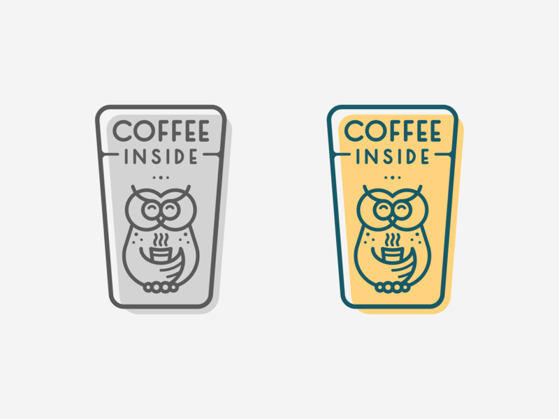 Coffee Inside Color Logo gray green yellow coffee owl typography logotype design logo design illustration icon graphic design clean logopron logo identity kazaligor mark branding alexkazakov
