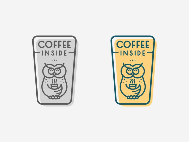 Coffee Inside Color Logo gray green yellow coffee owl typography logotype design logo design illustration icon graphic design clean logopron logo identity kazaligor mark branding alexkazakov