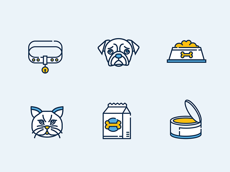 Petshop - Icon design design color line icon face cat dog animal shop pet