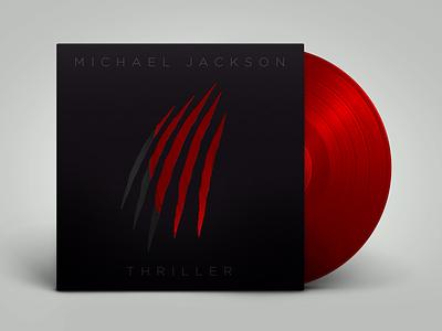 Thriller — Michael Jackson warmup design 1982 playoff minimal redesign hollow punch scratch red vinyl cover vinyl thriller werewolf blood album cover design album cover album michaeljackson