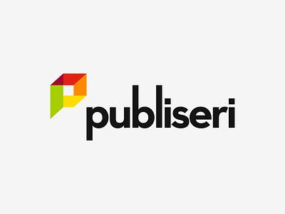 Publiseri — Print Shop & Silkscreen overlapping typography serigraphy print shop polygon letter logo minimal design pictogram symbol vector logotype logo design logo branding brand design
