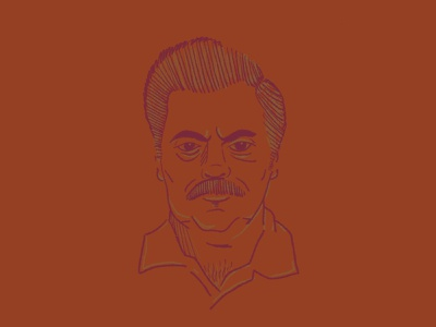 Ron Swanson nick offerman mustache illustration ipad procreate ron swanson parks and rec