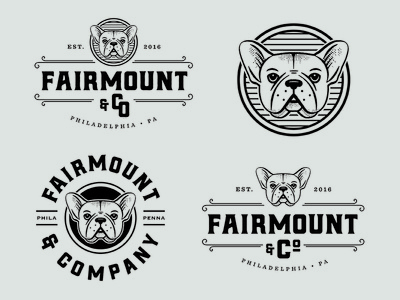 Fairmount & CO. french bulldog type illustration branding