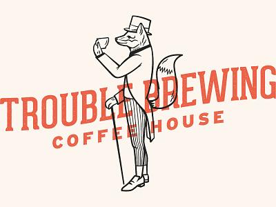 Trouble Brewing illustration branding fox coffee