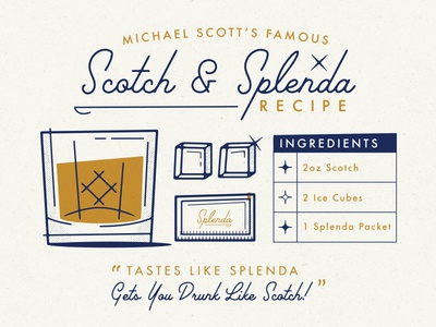 Scotch & Splenda Recipe recipe vector mid-century scotch office the