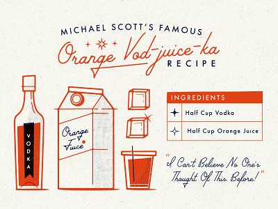 Orange Vod-juice-ka Recipe michael scott recipe vector mid-century vodka office the