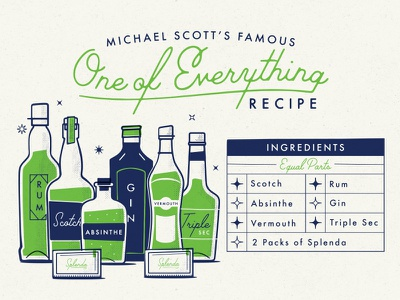 One of Everything Recipe michael scott the office recipe vector mid-century alcohol