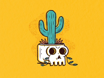 Cactus Skull plant cactus skull illustration texture vector