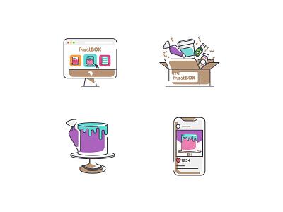 FrostBOX Illustrations cookie sweet box cake ux branding web illustration design vector ui