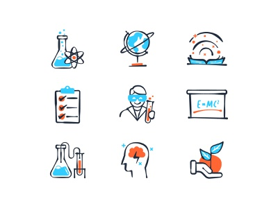 Science Matters Kits Icon math mathematics biology physics chemistry kid child science ui vector design iconography icon