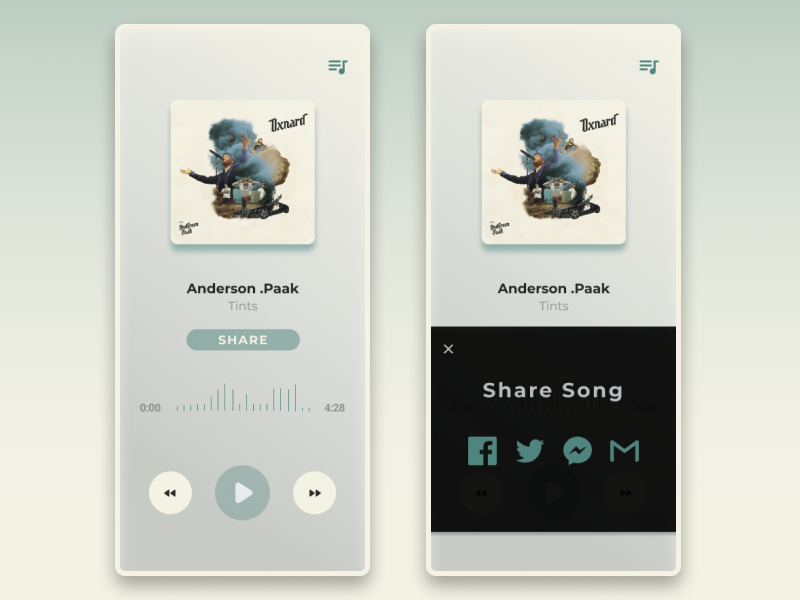 Social Share - Daily UI 010 dailui daily challange daily 100 daily ui socal share buttons share button music app musicplayer social buttons