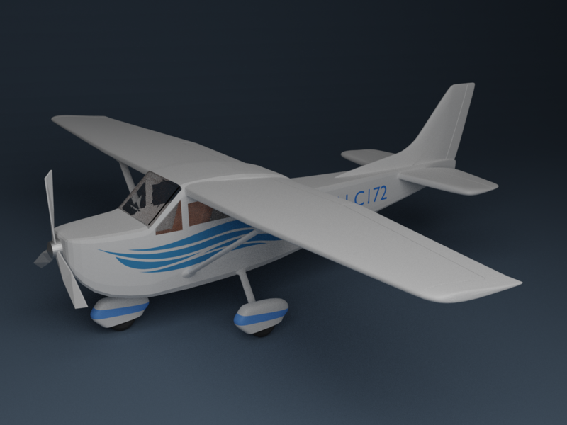 Cessna 172 aircraft low poly airplane plane lowpoly cycles blender 3d model 3d