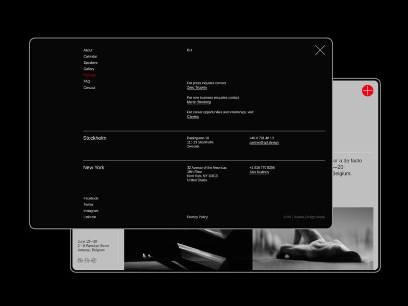Aurora Events Design Kit. Menu ui uidesign typography ui design flat ui component ui pack minimalism ui kit ui elements adobe xd interface promo page dark theme dark ui menu popup themplates ui kits
