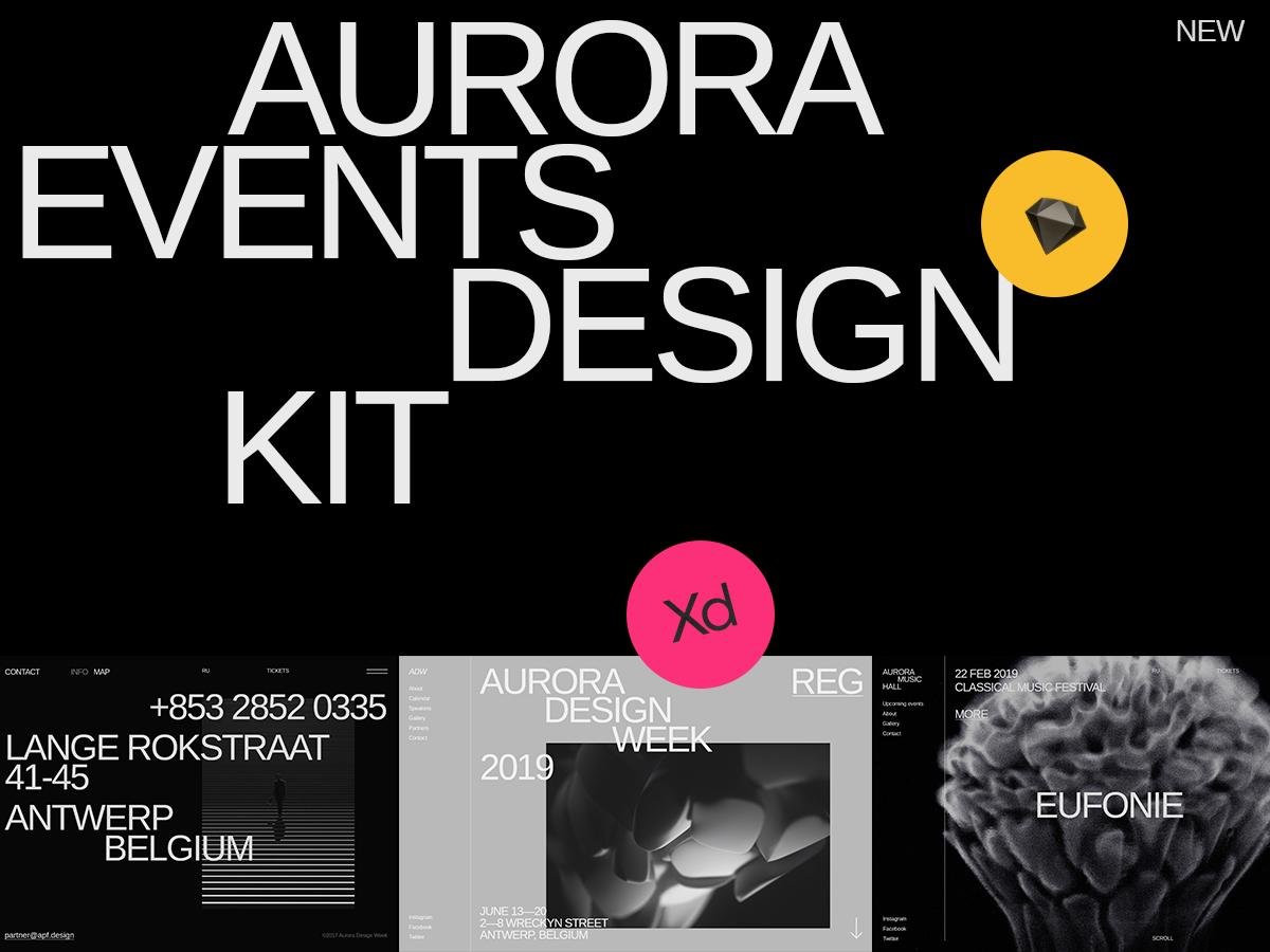 Aurora Events Design Kit ui pack ui kit ui elements ui kits ui design ui component ui typography themplates promo page minimalism interface flat brutalist background image adobe xd