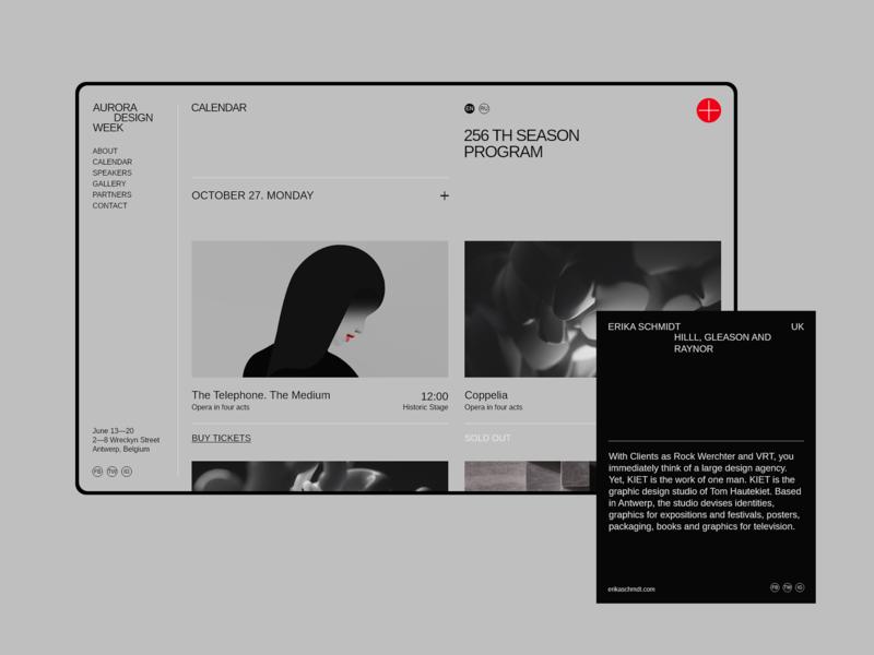 Aurora Events Design Kit. Calendar promo page minimalism calendar ui calendar ui component ui pack sketchapp sketch adobe xd ui kit ui elements flat brutalist ui design interface ui kits themplates