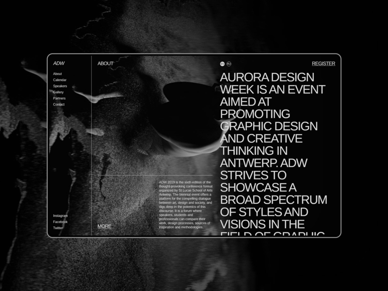 Aurora Events Design Kit. About information about page about us about typography brutalist minimalism ui component ui pack ui kits ui kit ui elements adobe xd interface promo page themplates