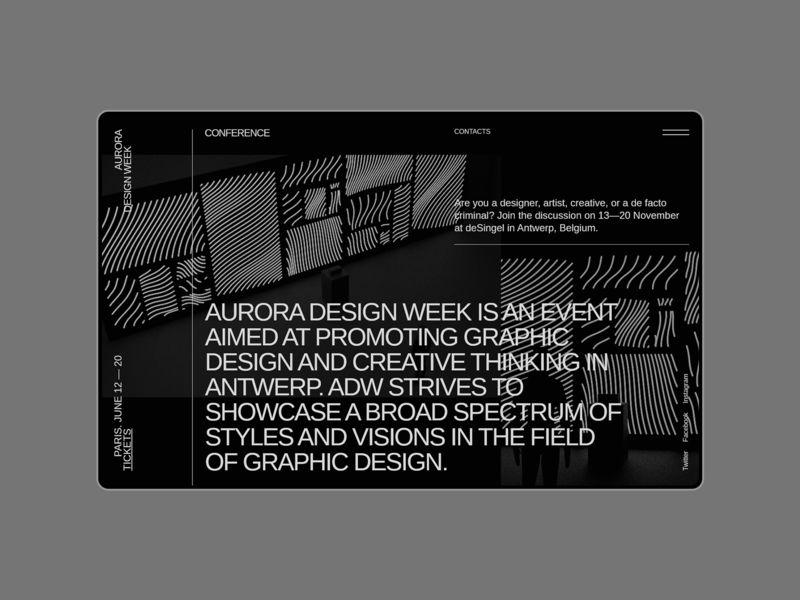 Aurora Events Design Kit. About information about page about about us minimal minimalism ui design typography ui component ui pack ui kit ui elements promo page themplates interface ui kits brutalist