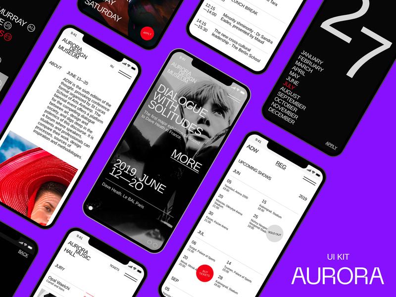 Aurora Mobile Kit ui design interface minimalism brutalist fashion events app events event promo page themplates ui component ui pack ui elements ui kit ui kits