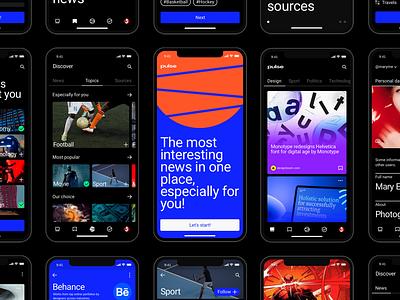 Pulse UI Kit. News Aggregator App minimalism newsfeed news application mobile ui mobile app mobile app themplates ui component ui pack ui elements ui kit ui kits