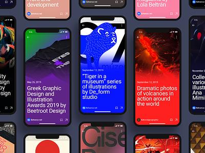 Pulse UI Kit. News Aggregator App cards typography mobile design mobile app mobile ui mobile app design newsapp news feed newsfeed news ui components ui design themplates ui component interface ui pack ui kit ui elements ui kits
