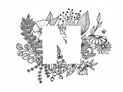 November vegetal plants flowers illustration bullet journal letter n typography