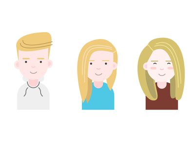 Chris, Caroline, Amber illustrations illustration character profile
