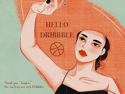Hello Dribbble girl design hello dribbble digital retro illustration