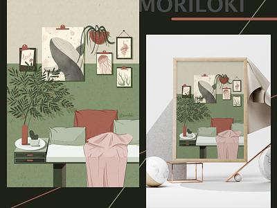Cozy zone retro home cozy digital illustration