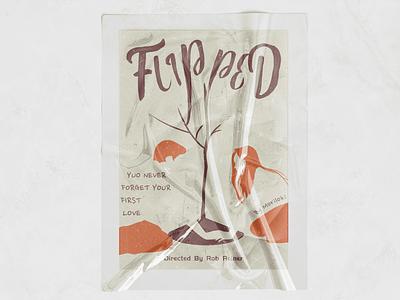 FLIPPED poster design retro illustration
