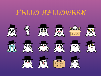Hello Halloween stickers ghost wechat cute emojis character illustration