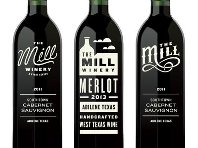 In Progress Logo & Labels wine label mill typography script custom type logo brand