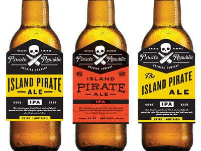 Pirate Republic In Progress pirate crossbones typography beer craft ipa brewery logo skull
