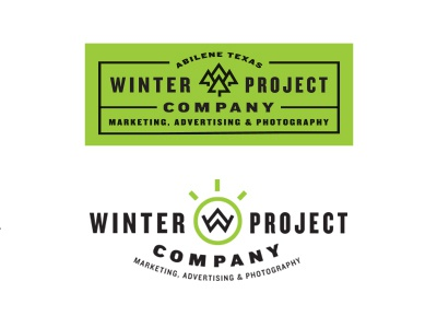 Winter Project Company branding identity logo type typography tree w mountain label trees