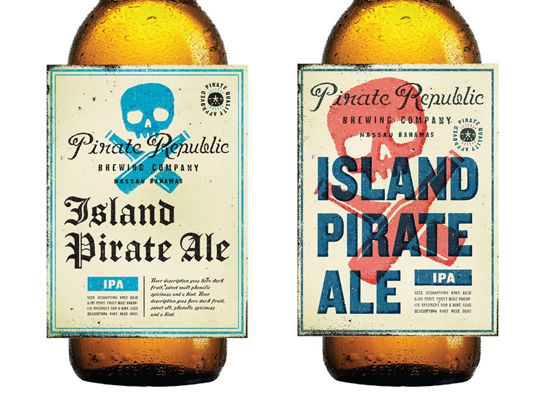 Pirate Republic In Progress Pt2 beer label beer label branding logo skull crossbones typography type sand dollar brewery pirate