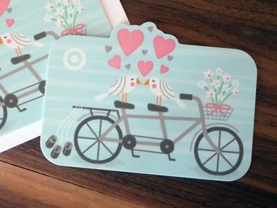 Target heart illustration target gift card birds tandem bike flower love