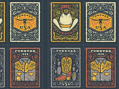 USPS Western Wear Stamps! illustration belt buckle cowboy hat pearl snap cowboy hat flower sun snake usps stamp stamps california arizona texas western wear